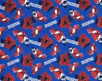 06426-  Springs Creative   - Marvel licensed Amazing Spiderman cotton fabric in blue- 1/2 yard
