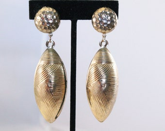 Golden Large Bulky Bauble Dangle Fashion Earrings - Clip On