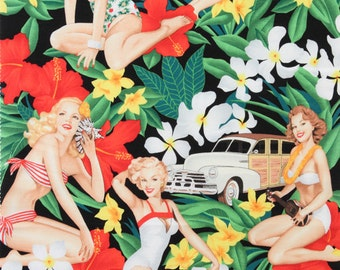 LAMINATED cotton fabric (similar to oilcloth by the yard - Mahalo Girls black - Hawaii Pin up - Approved for children's products