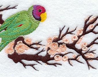 Asian Parakeet Border Embroidered Flour Sack Hand/Dish Towel