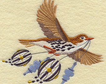 Christmas Woodthrush with Ornaments in Flight Embroidered Flour Sack Hand/Dish Towel