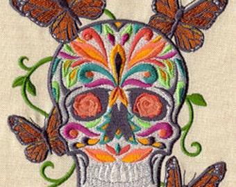 Mariposas Calavera Skull Mexican Culture Dia De Los Muertos Embroidered Flour Sack Hand Towel