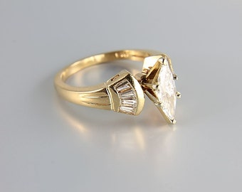 Diamond Engagement Ring, 14K Semi Mount, Marquis Baguette Diamond Solid yellow Gold size 7