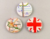 Set of three 3 I love the UK England London British Badges Buttons Pin Back Union Jack Street Map London Tube Underground Traveller Britain