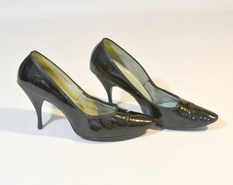 1960s Black Patent Leather Pumps, Size 6N