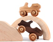 Off-Road Adventure set - all natural wooden toys with organic finish,  two jeeps with tunnel and boulder, eco-friendly imagination toys