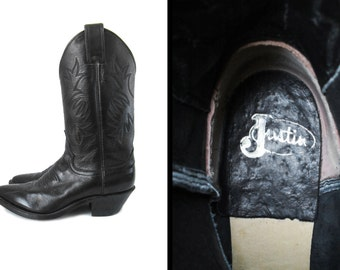 Vintage Women's Black Cowboy Boots 80s Justin London Calf Leather - Size 5 1/2 B
