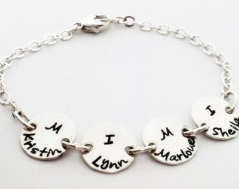 Grandma bracelet you choose number of charms custom handstamped personalized sterling silver by Hammered Love Letters