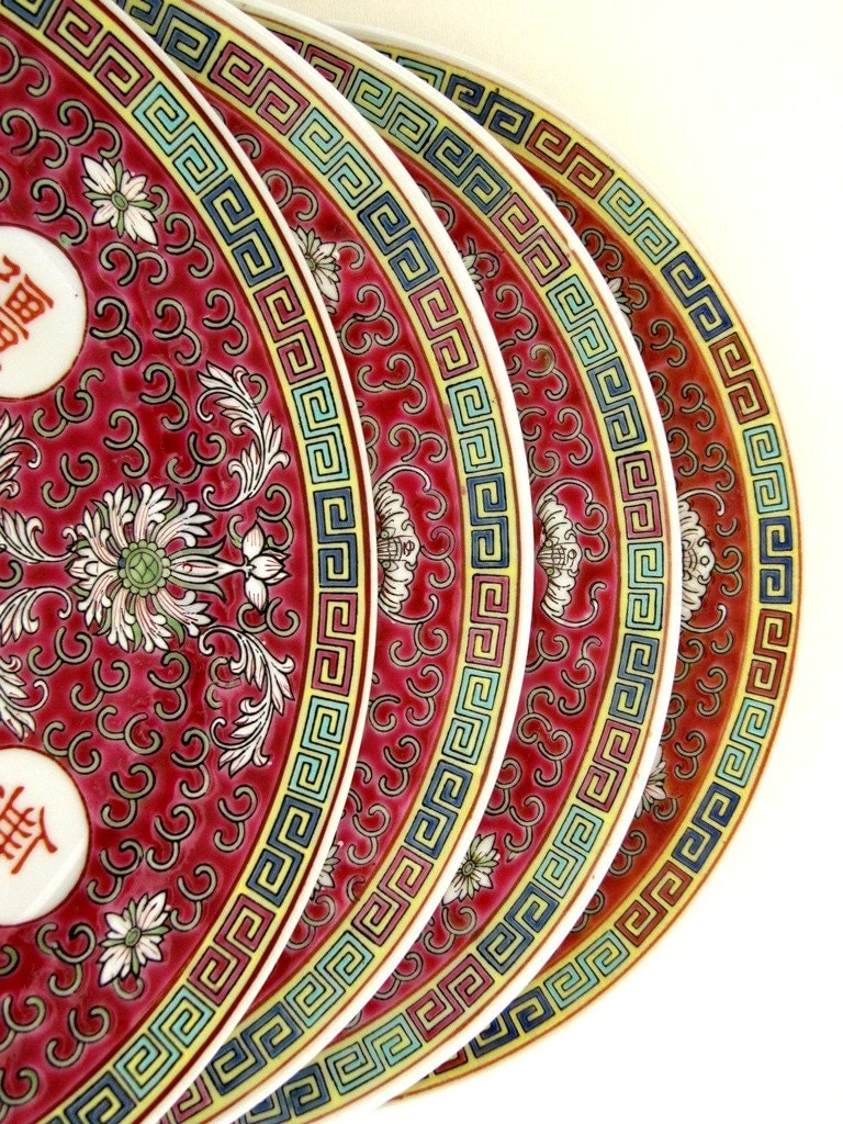 Chinese Porcelain Plates : Asian chinese porcelain dinner plates set of famille rose