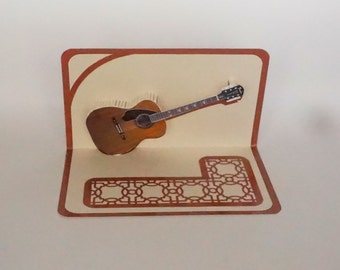 Brown ACOUSTIC GUITAR 3D Pop Up Card ORIGINAL Design American Idol Music Lovers Handmade in Beige and Metallic Shimmery Copper OOaK
