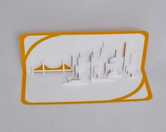 SAN FRANCISCO SKYLINE Pop Up 3D Card Home Decoration Origamic Architecture Hand Cut in White and Metallic Gold Folds Flat OOaK