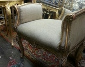 Small Stool. Antique Rococo Style GIlded Wood. Burlap Reupholstery. Accent Bench. Vanity Bench