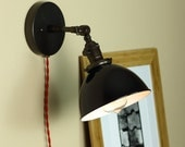 Industrial, Articulating Wall Sconce Lighting - Steampunk Light - BLACK Porcelain Enamel Shade - Hand Finished in Oil Rubbed Bronze