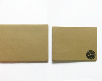 5 Button Stamped Cards, Button Greeting Cards, Kraft Paper Set, Cards and Envelopes, Ink Stamped Buttons, Blank Notecards