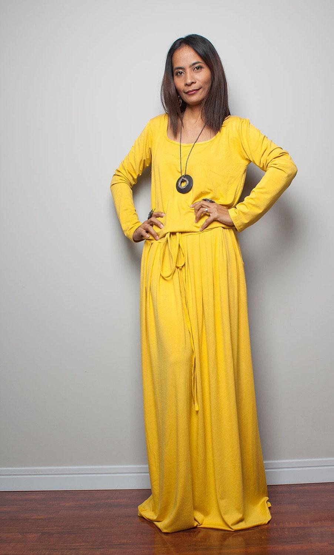 Maxi Dress Yellow Long Sleeve dress : Autumn Thrills