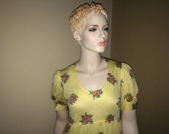 Vintage Yellow Knit Byer California Seventies Maxi Dress,Vintage Clothing, 1970's Dress, Full Length Dress