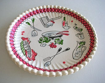 6 Mid Century Picnic Theme Paper Plates Set of 6 UNUSED Heavy Card stock Illustrated 1950s BBQ supply from The Back Part of the Basement