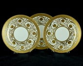 Antique Crown Sutherland Gold Encrusted Dinner Plates - Set of 3