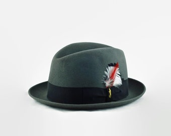 "Vintage Handmade Borsalino Alessandria Grey Fur Felt Fedora with Decorative Feather Detail - Size 7 1/8"""