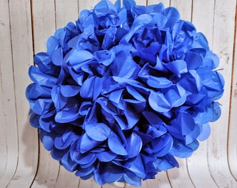 "15"" Blue Tissue Pom Poms"
