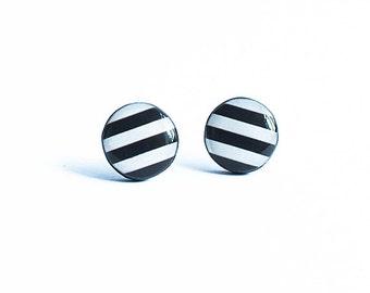 White black stud earrings striped hypoallergenic post earrings