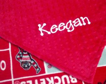 Personalized Ohio State Football Fleece and Minky Baby Blanket