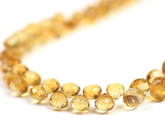 Citrine Micro Faceted Onion Briolettes 4 Golden Yellow Semi Precious Gemstone November Birthstone
