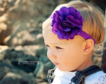 Large purple satin mesh flower headband. Infant, toddler, child, adult sizes