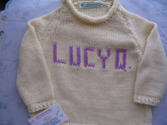 Baby Girl Size 12/18 mos -  Name-Embroidered Handknit Cotton Sweaters