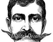 Mustache Man Hair Handlebar - Digital Image - Vintage Art Illustration - Instant Download