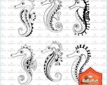 Instant Downloads, 6 Seahorse Clip Art, Free Drawing Lines Style, Personal and Small Commercial Use. BP 0814