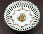 Sale  Vintage Bowl Schumann German Porcelain Cutwork Trim Portrait Center