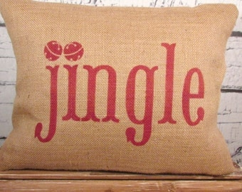 Christmas burlap pillow cover  - Jingle pillow with bells - Pillow insert sold separately