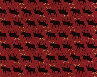 Mini Series Red Moose Cotton Print Fabric from Timeless Treasures