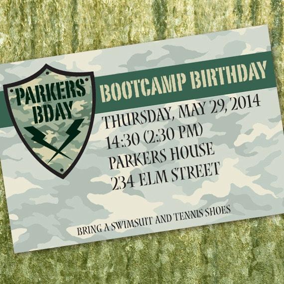 bootcamp, birthday party invitations, ranger graduation invitations, army birthday party, camouflage birthday party invitations, 4x6, IN324