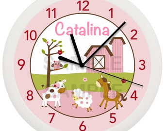 Girl Farm Animal Personalized Nursery Wall Clock