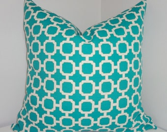OUTDOOR Pillow Cover Teal/White Geometric Design Pillow Cover Patio Deck Pillow 18x18
