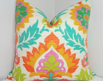OUTDOOR Pillow Cover Bright Colorful Waverly Santa Maria Mimosa Floral  Indoor/Outdoor Pillow Cover 18x18