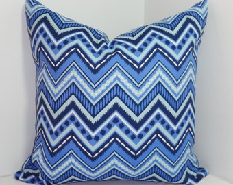 OUTDOOR Chevron Pillow Cover Navy Blue Zig Zag Design Deck Patio Pillow Cover 18x18 20x20