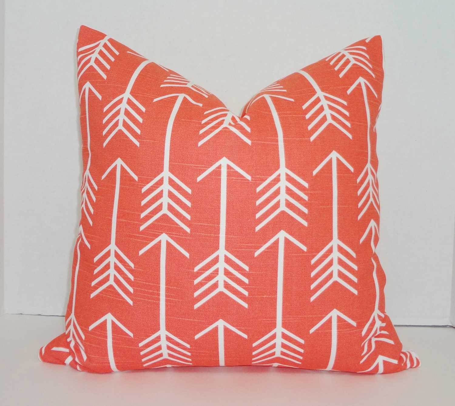 OVERSTOCK SALE Coral White Arrow Print Decorative Pillow Cover