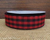 """Christmas Wired Ribbon, 1 1/2"""" wide, Red and Black Check Buffalo Plaid - TWENTY FIVE YARD RoLL - Reliant """"Cabin Check"""", Gingham Craft Ribbon"""