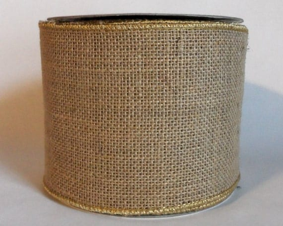 "Burlap Wired Ribbon 4"" Natural Jute - THREE YARDS -  Offray Beige, Light Tan Burlap Ribbon, Prim, Rustic Decor, Craft Wire Edged Ribbon"