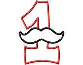 Mustache Number 1 Applique - Machine Embroidery Design - 5 sizes