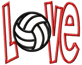 LOVE - Volleyball - Applique - Machine Embroidery Design - 9 sizes