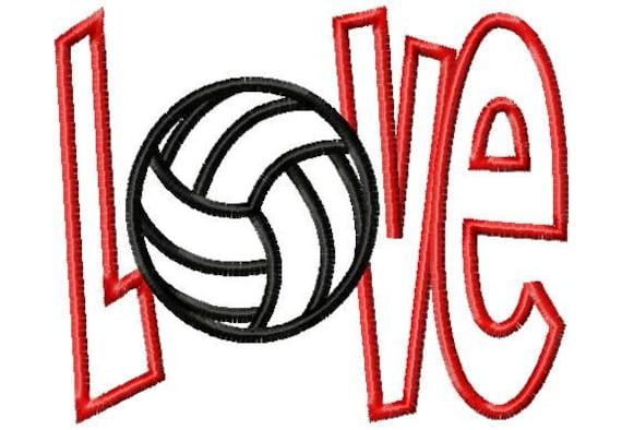 Love volleyball applique machine embroidery design