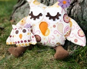 Owl plush, pillow, purple and golden paisley Riley Blake fabric, listing for large owl only