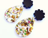 Poppy Drop Earrings - Black and Lush Glitter