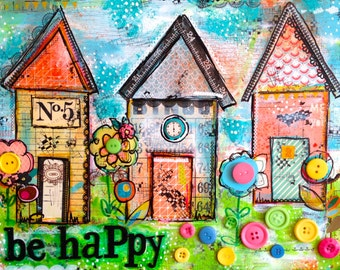 Mixed Media Art Huts, painting on deep canvas