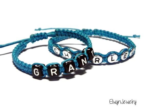 Boy Name Bracelet Personalized Bracelet Kids Jewelry Blue
