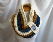 Cowl PATTERN Chunky Bulky Button Crochet Cowl: Off White, Windsor Blue, Honey Brown - DIGITAL PATTERN